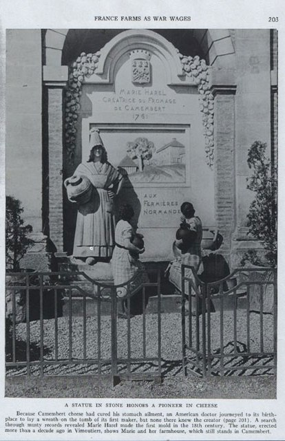 A STATUE IN STONE HONORS A PIONEER IN CHEESE ( H.H. Walker: The National Geographic Magazine 77. Jg. (1940) No. 2, S. 201 - 203)